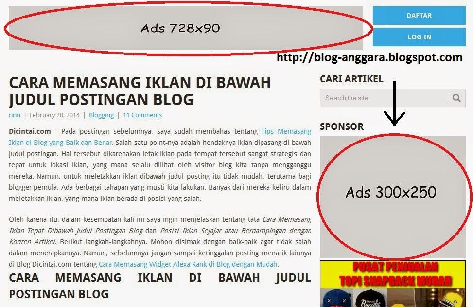 Memasang slot iklan di blog