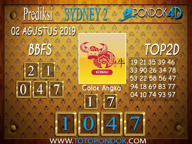 Prediksi Togel SYDNEY 2 PONDOK4D 02 AGUSTUS 2019