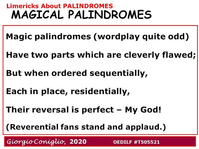llimerick;wordplay; palindromes; magic palindromes; Giorgio Coniglio