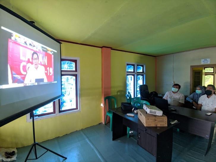 Bahas Masalah Covid 19, Kades Baru Semerah Vidio Conference dengan Menteri Desa