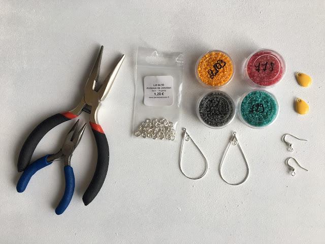 parure, DIY, la revue du fil, boucles d'oreilles, perle des loisirs