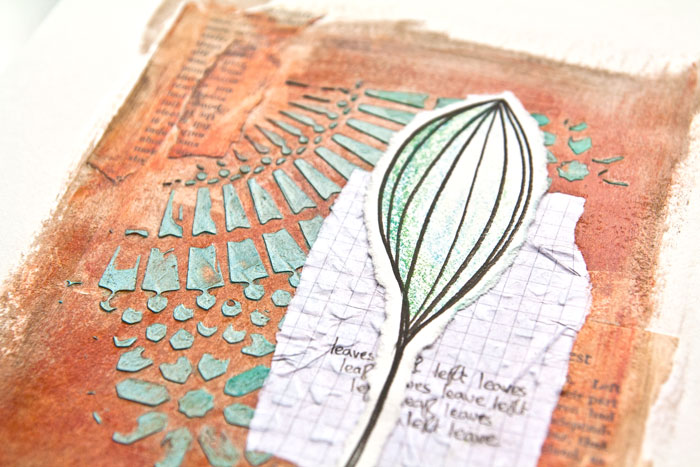 Close up of Acrylic glazing art journal page by Kim Dellow. There is a video tutorial too!