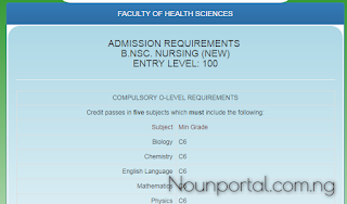 NOUN Admission Requirements - B.NSc. Nursing