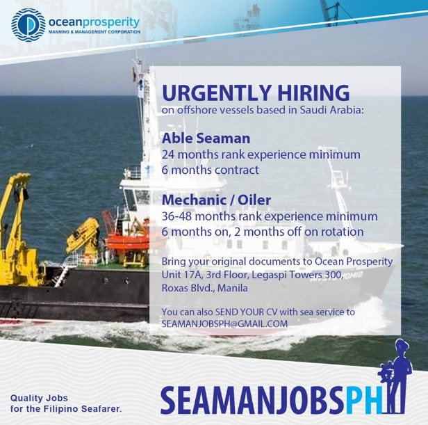 Urgent Vacancy For Oiler, Able Seaman Join On Offshore