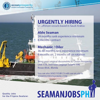Urgent Vacancy For Oiler, Able Seaman October - November -December 2018