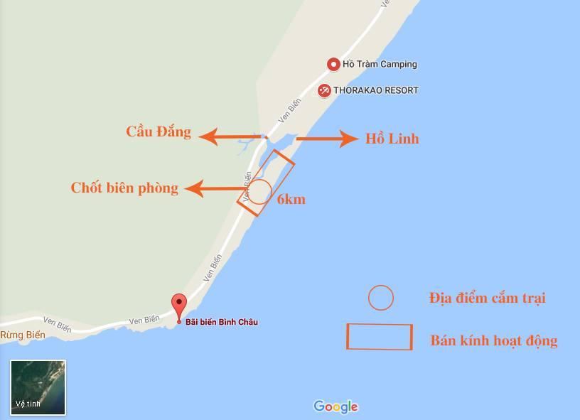 Bản đồ đền điểm cắm trại bãi biển Bình Châu, BRVT