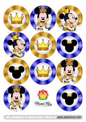 Toppers para Cupcake de Príncipe Mickey Mouse