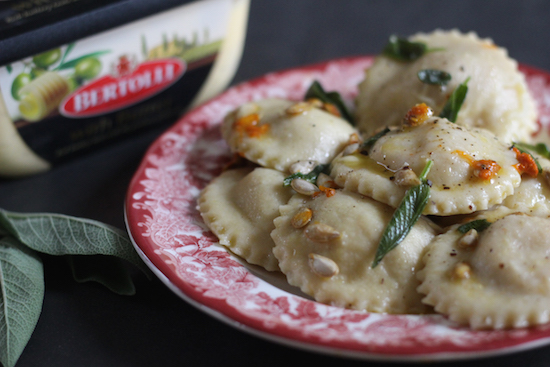 butternut squash and red pepper ravioli in a sage butter sauce