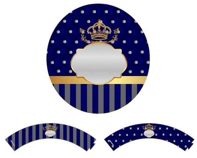 Corona Dorada en Azul y Brillantes: Wrappers y Toppers para Cupcakes de Bodas para Imprimir Gratis.