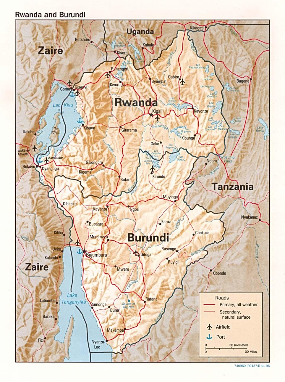 Ruanda | Mapas Geográficos de Ruanda