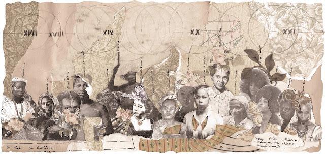arte criada com colagem analógica sobre mulheres negras guerreiras, Por Maria Rosa