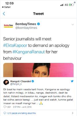 Kangana Ranaut boycot media