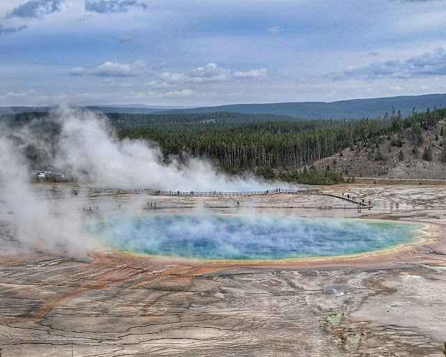 Adventurous Tastes| Brightly colored Grand Pristmatic Springs at Yellowstone