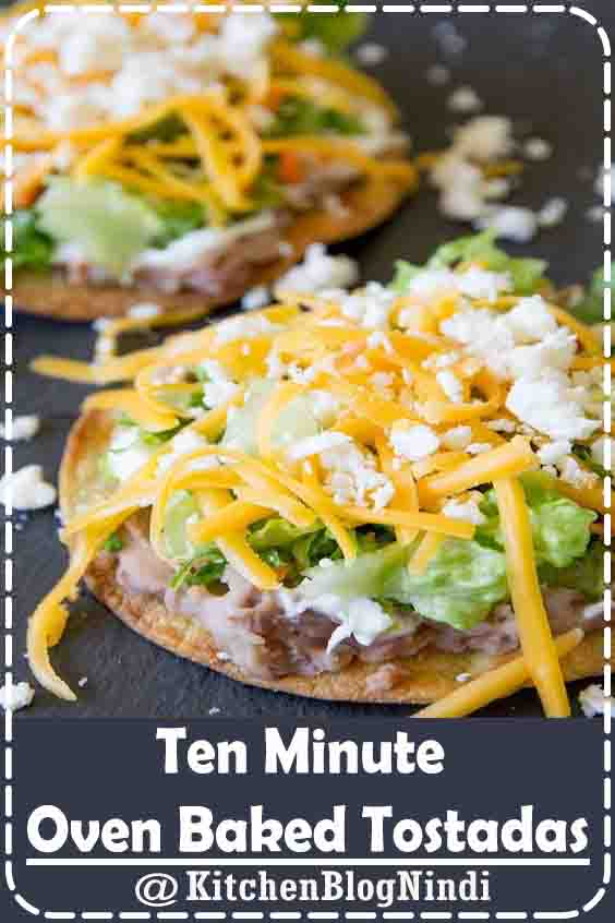 4.8★★★★★ | Oven Baked Tostada Shells are ready in minutes then topped with your favorite toppings, making these tostadas the perfect weeknight meal. #TenMinuteOven #Baked #Tostadas