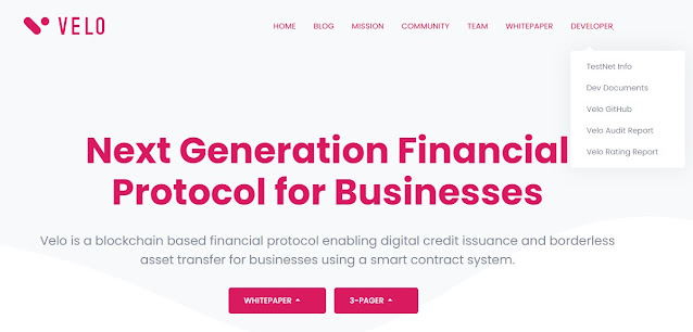 Screenshot Website Velo (VELO) Cryptocurrency
