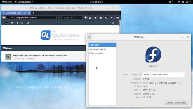 Área de trabalho do Fedora 26 Workstation, com desktop GNOME 3.24