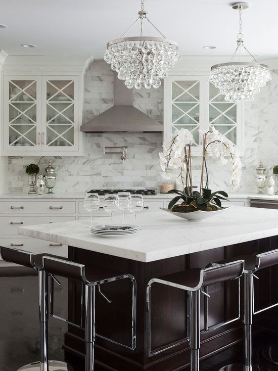 Chrome, white cabinets and espresso island kitchen inspiration | via monicawantsit.com