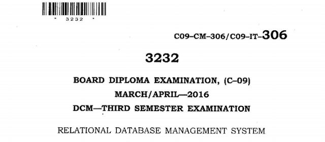 SBTET AP C-09 RELATIONAL DATABASE MANAGEMENT SYSTEM PREVIOUS QUESTION PAPER MARCH-APRIL 2016