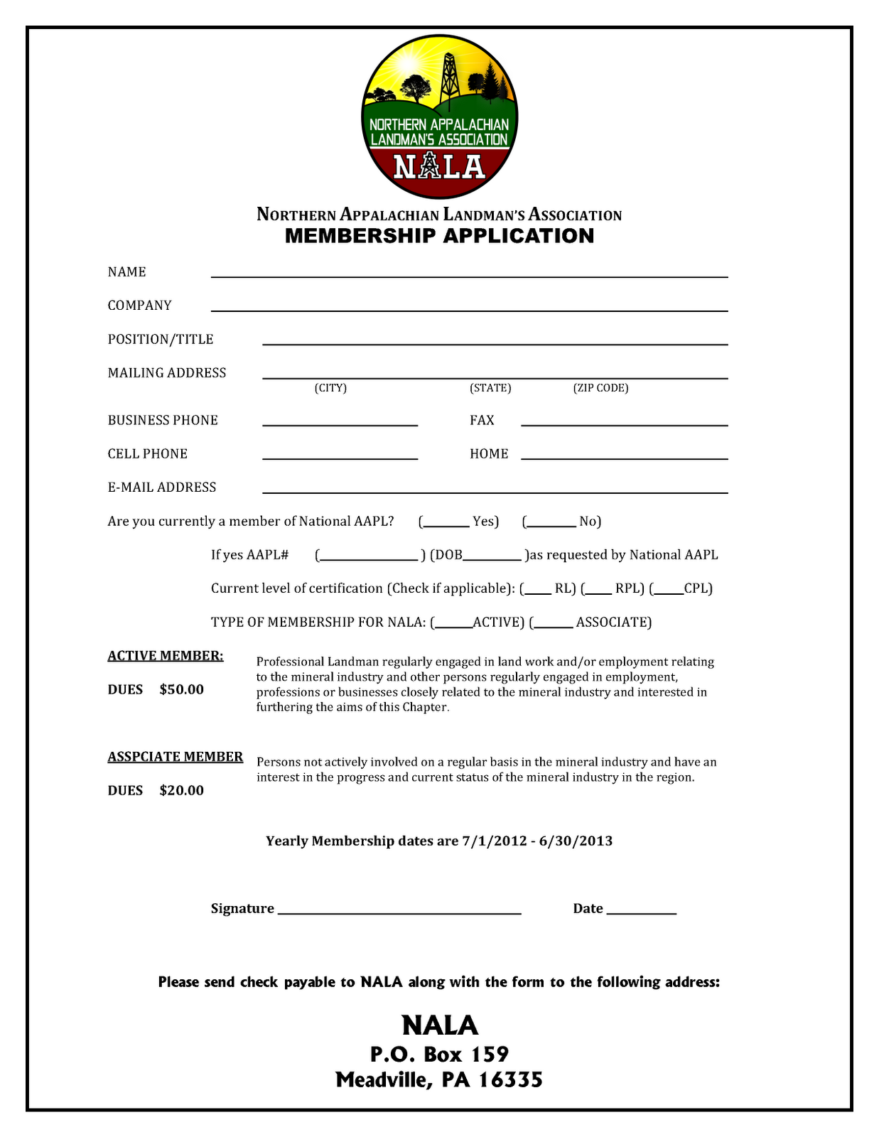 Northern appalachian landman 39 s association membership for Membership form template doc