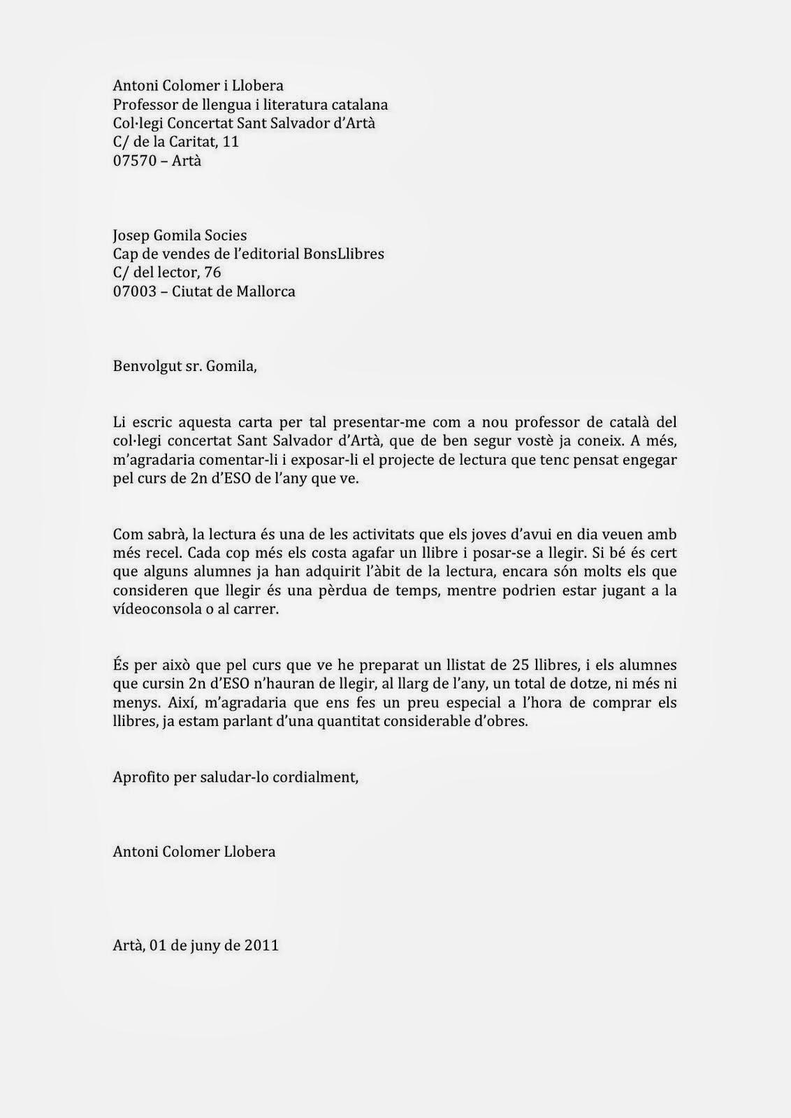 Català Fàcil 2019 2020 La Carta Formal