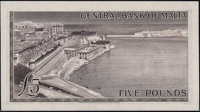 Malta money currency 5 Pounds banknote 1967 Grand Harbour of Malta