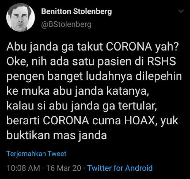 UJI NYALI! Geram dengan Abu Janda, Pasien Corona di RSHS Ajukan Tantangan Mengerikan Ini!