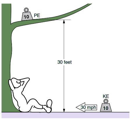 Which has more energy:  (A) a mass weighing 10 lb. (4.54 kg) sitting on a limb  30 ft. (9.14 m) above the ground, or  (B) the same mass sliding across ice at 30 mph (13.41 m/sec)?  (A) has potential energy, due to its height above ground, but has zero kinetic energy because it is not moving. Its energy is:  PE = mgh  = 4.54 kg × 9.8 m/sec2  × 9.14 m  = 406.7 kg-m2/sec2 = 406.7 J  (B) has kinetic energy, due to its velocity across the ice, but has zero potential energy because it is at ground level. Its energy is:  KE = ½mv 2  = 0.5 × 4.54 kg × (13.41 m/sec) 2  = 408.2 kg-m2/sec2 = 408.2 J