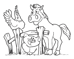 Cute Farm Animals Chicken, Horse And Pigs Coloring Pages