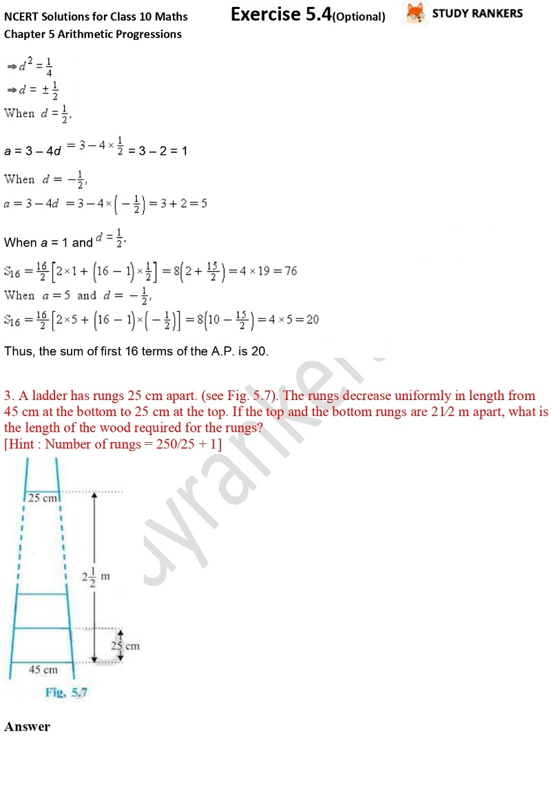 NCERT Solutions for Class 10 Maths Chapter 5 Arithmetic Progressions Exercise 5.4 Part 2