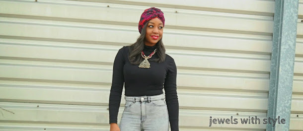 how to wear a turban, how to wear a scarf, new ways to wear a scarf, creative ways to wear a scarf, how to style a scarf, jewels with style, fall trends, winter trends, high waisted jeans outfit, fall outfits, outfit inspiration, flower scarf, black fashion blogger, Monica Warren, zebra belt,
