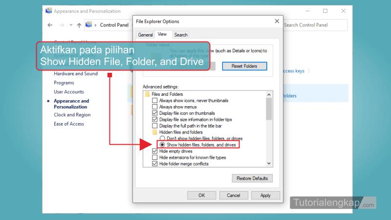Tutorialengkap 4 cara menampilkan File dan Folder Tersembunyi pada Windows 7, windows 8, Windows 10