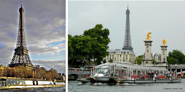 Passeio de barco pelo Rio Sena, Paris. A Torre Eiffel vista do Sena