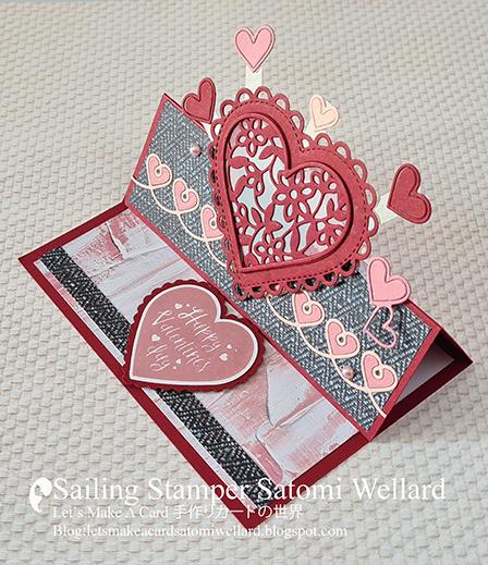 Stampin'Up! Lots Of Heart Easel Card  by Sailing Stamper Satomi Wellard #stampinginkspirationsbloghop