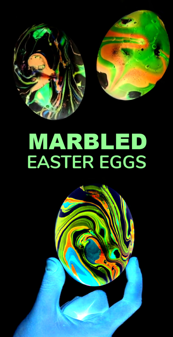Decorate Easter eggs that GLOW with this easy nail polish marbling technique.  Kids won't believe their eyes as they dye swirling, neon Easter eggs! #marbledeastereggs #marbledeggs #marbleizedeggs #nailpolisheastereggs #nailpolisheggdecorating #glowingeggs #gloweggs #growingajeweledrose