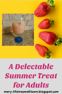 blog post pin with strawberries on a yellow background and frozen drink beside it. The title of the blog post is under the picture