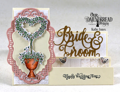 Our Daily Bread Designs Stamp Set: Happy Wedding Day, Paper Collection: Wedding Wishes, Custom Dies: Heart Topiary, Vintage Labels, Vintage Borders, Side Step Card, Bride & Groom