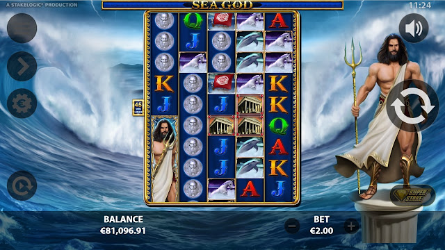 Super Reels game feature in Sea God by Reflex Gaming