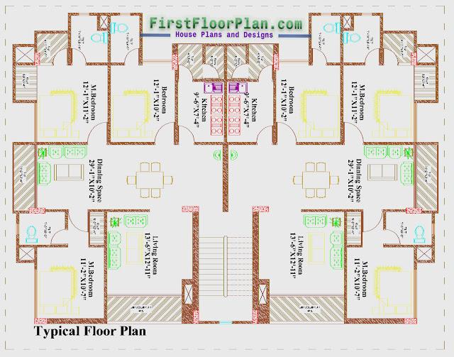 Apartment Building Typical Floor Plan, 80 x 75 floor plan