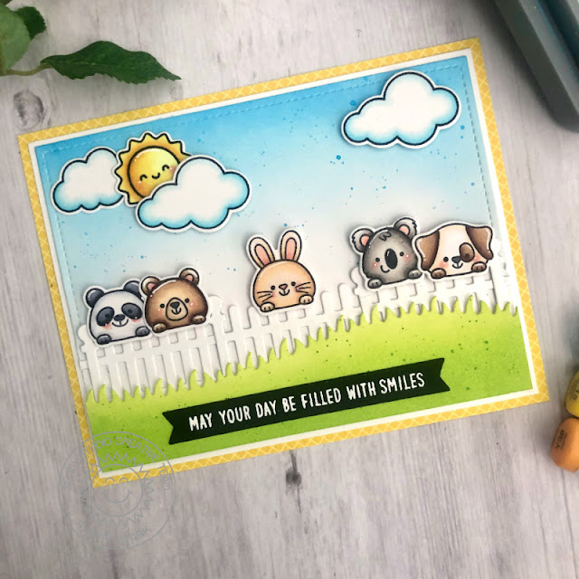 Sunny Studio Stamps: Scalloped Fence Dies Beach Buddies Everyday Cards by Tammy Stark