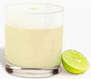 Foto de una copa de Pisco Sour con limón