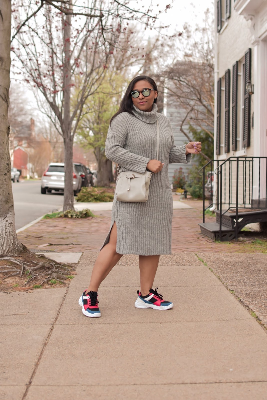 femme luxe, luxe gal, knit swater dress, knit sweater, spring dresses, dresses and sneakers, shoedazzle shoes, spring outfit ideas, pattys kloset