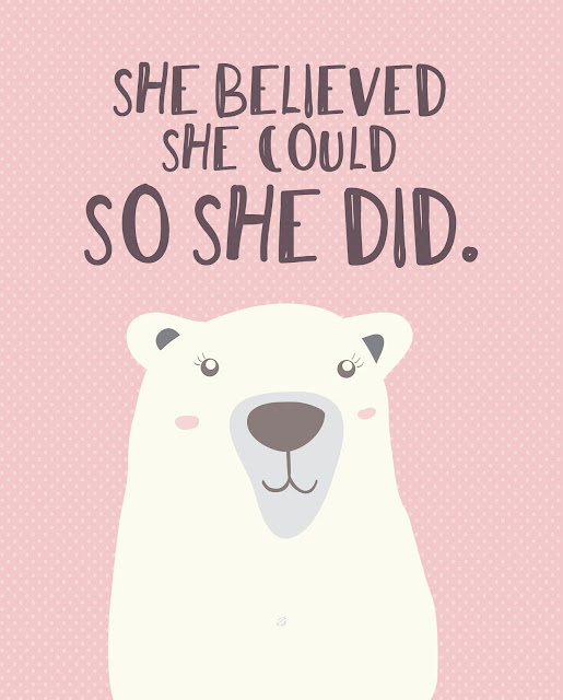 LostBumblebee ©2017 She Believed She Could, So She Did. Bear, Print, International Women's Day, Donate to download, Printable, Home Decor, Personal Use Only, www.lostbumblebee.net