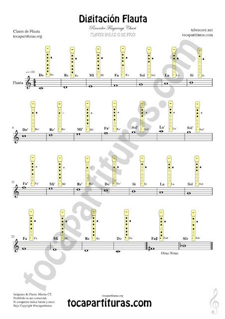 Digitación Partitura para Flauta Dulce Fácil  en Clases de Música de Educación Musical en Primaria, Escuelas de Música y Conservatorios