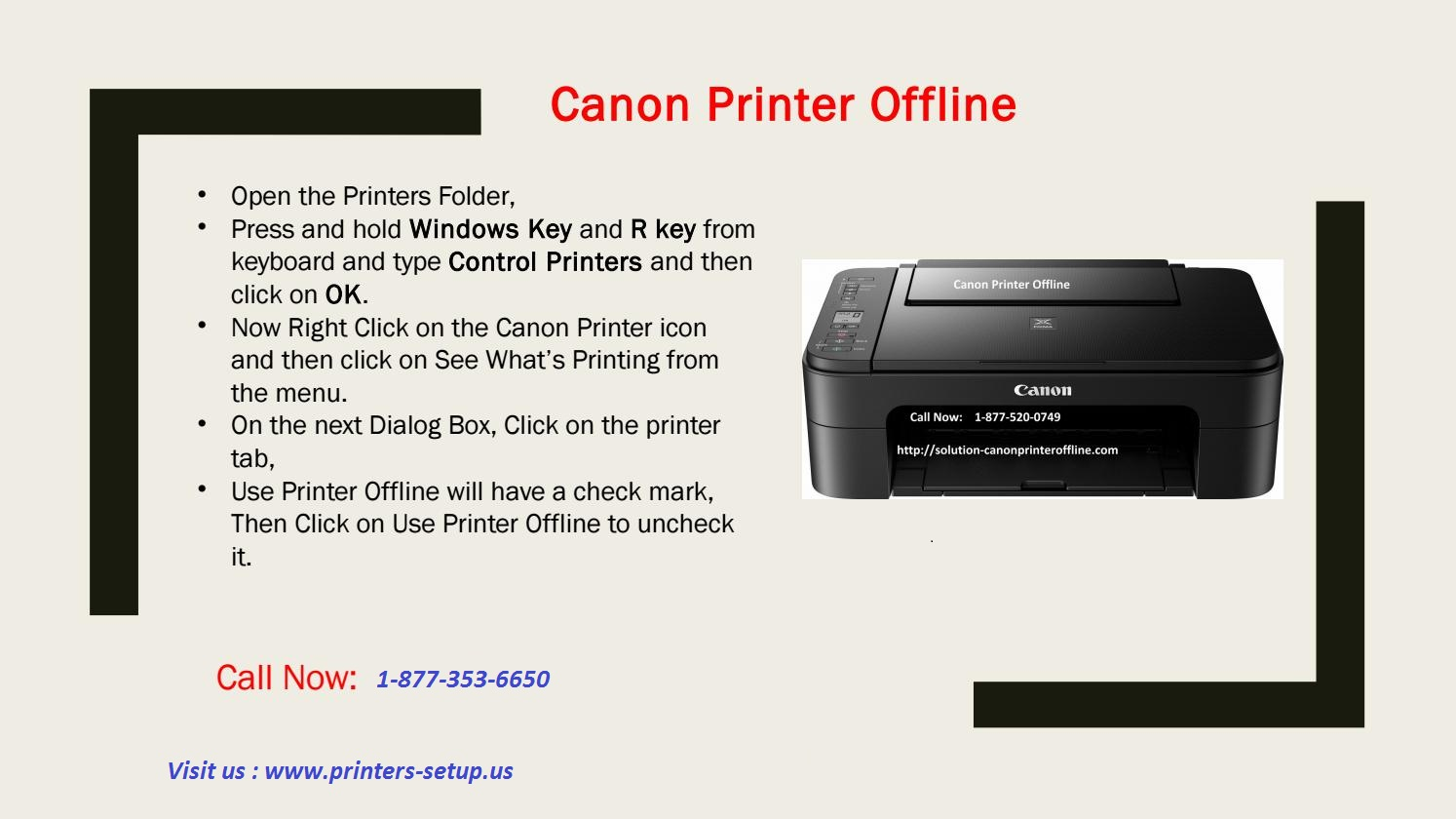 How to fix Canon Printer Offline Issue? Call 1-877-353-6650