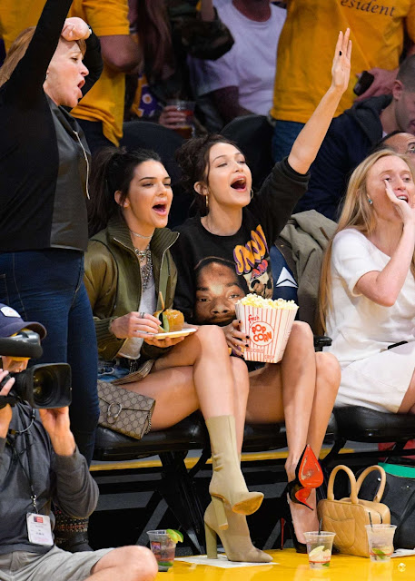 Kendall Jenner and Bella Hadid at LA Lakers vs Dallas Mavericks Game in LA