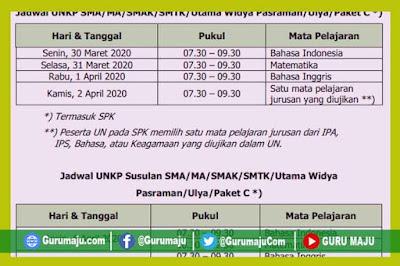 Jadwal UN UNBK UNKP SMP, SMA, SMK Sederajat Tahun 2020