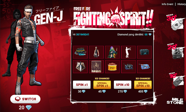 Event Fighting Spirit Free Fire September Berhadiah Bundle Gen-J