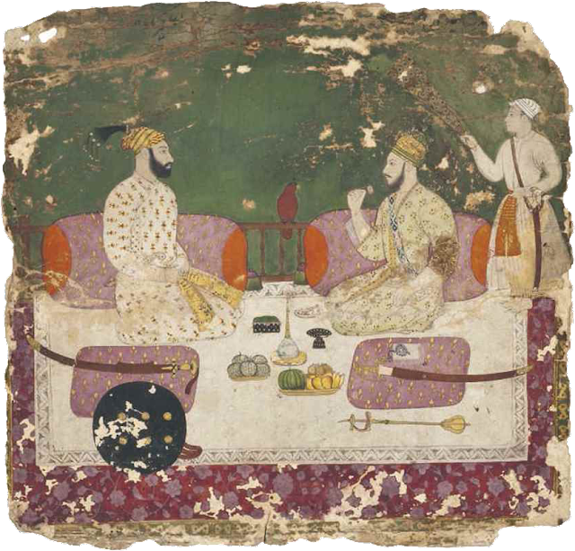 Muhammad Shah and Nadir Shah in discussion