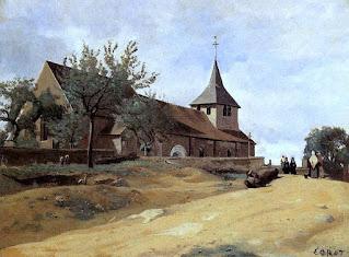 L'église de Lormes peinte par Corot
