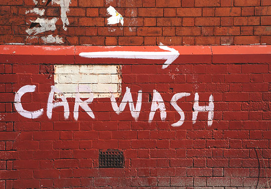 urban photography, red brick, industrial, car wash sign, Sam Freek, contemporary photography,